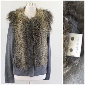 Three Dots Faux Fur Heather Sweater Jacket